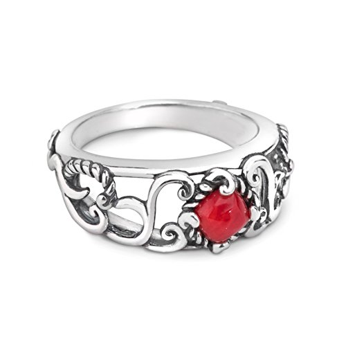 Carolyn Pollack Sterling Silver Red Coral Band Ring,6