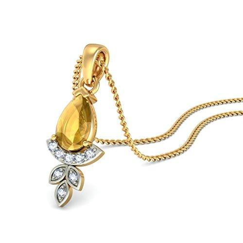 Or jaune 18K 0,08ct tw Round-cut-diamond (IJ   SI) et citrine Pendentif