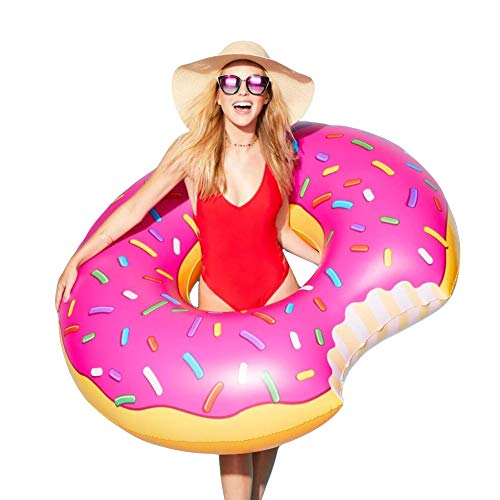 Gigantic Donut Pool Float Inflatable Swimming Ring | Fun Adults or Kids Swim Party Toy | 4-Foot