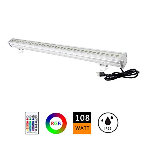 (H-TEK 108W RGBW LED Wall Washer Light, Color Changing, Linear Strip Light with RF Remote Controller, 120V, IP65 Waterproof, 3.2ft/40inches Length, LED RGB Light Birthday Party, Carnival (Single Pack))
