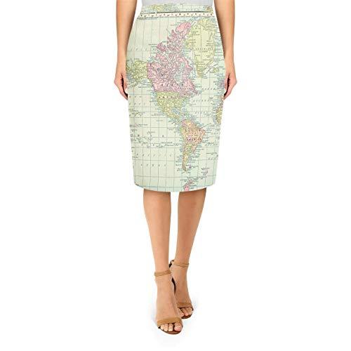 Midi Pencil Skirt – Antique World Map 1913