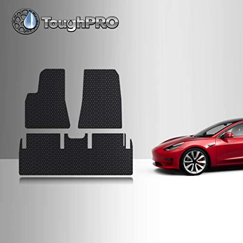 TOUGHPRO Floor Mat Accessories Set Compatible with Tesla Model 3 – All Weather – Heavy Duty – (Made in USA) – Black Rubber – After Aug 2019 – Jan 2020 (Front Row + 2nd Row)