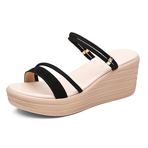 US7 Negro Pantofola 5 Sandalias Métodos Tamaño Usar para Grueso del PENGFEI Talón 240 Dos 6 Color Negro Hembra Cuña 2 Zapatillas EU38 5CM Colores Altura Verano Ocio UK5 Fondo E14nqzFn