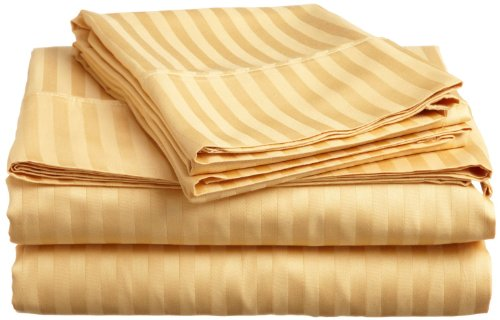 ITALIAN Prestige Collection 4PC QUEEN Striped Sheet Set, GOL