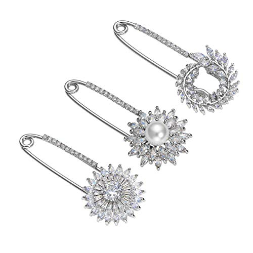 Top Plaza Flowers Scarf Clip Diamante Lapel Pin Suit Sweater Scarves Brooch Pins Rhinstones Safety Pin Wedding Banquet Jewelry - 3 Pcs -