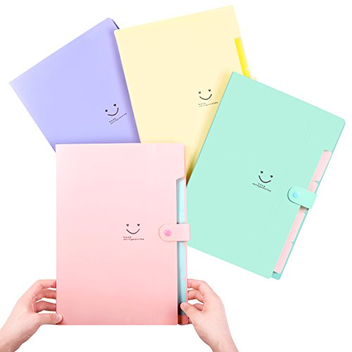Phyxin Expanding File Folder Office Organizer Document Accordion Folder Clipboard Letter Size A4 with 5 Pockets Plastic Set of 4,Pink Blue Light Green Canary Yellow -