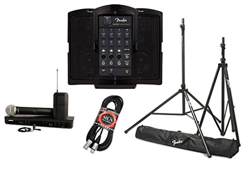 Fender Passport Venue PA System Bundle with Shure BLX1288/CVL Dual Wireless Microphone System and Accessories - Portable PA System (5 (Fender Wireless Microphone)