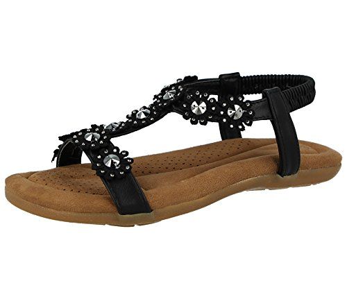 Bar Sling Shoes Toe Flower Stud Summer Size 3 Sandals 287481 PU Metallic Faux 8 Pu Back Leather Ladies T Black Flat Peep Chix wqx0vz7