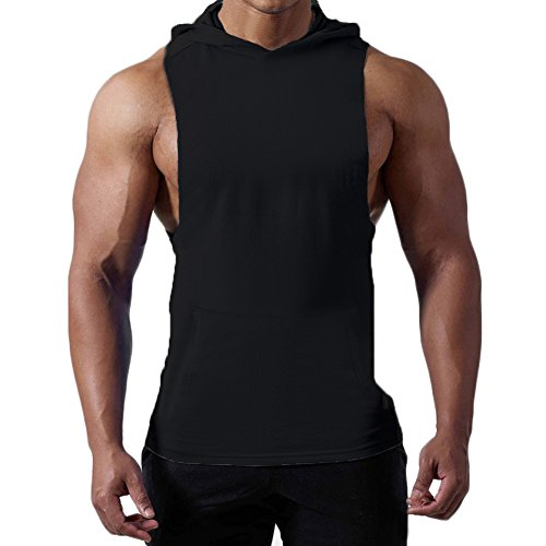 Gym Sleeveless (Magiftbox Mens Workout Hooded Tank Tops Sleeveless Gym Hoodies with Kanga Pocket – Cool and Muscle Cut T187_black_US-S/ASIAN M)