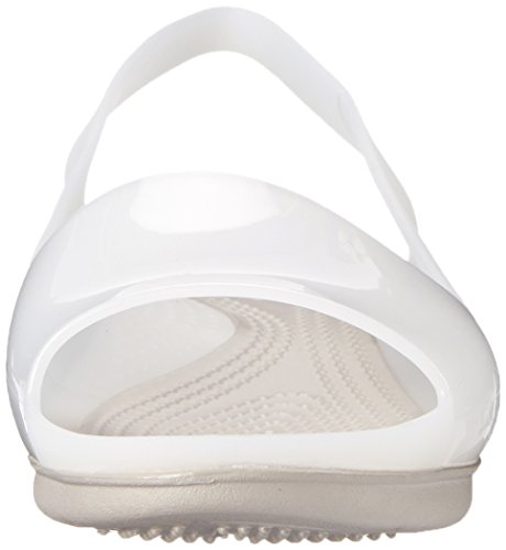 crocs Womens Colorblock W Dress Sandal, White/Platinum, 6 B(M) US