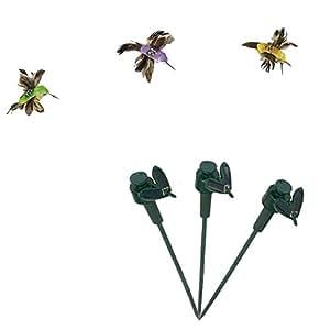 ilory 3unidades Luz solar y con pilas Flying anzuelo de mariposa/Hummingbrid/Girasol para patio jardín Yard Juego Plantas Flores Boda Exterior Decor Color aleatorio, Hummingbird
