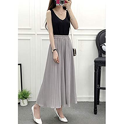 329e9e0e8f FidgetGear Women Elastic Waist Chiffon Loose Pleated Wide-Leg Pants Light  Gray One Size: Amazon.in: Home & Kitchen