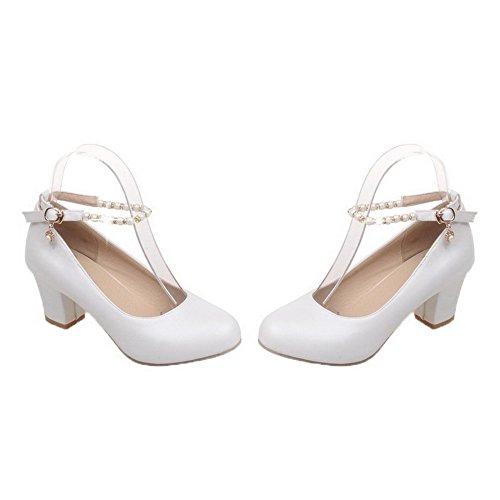 AllhqFashion Womens Solid PU Kitten-Heels Buckle Round-Toe Pumps-Shoes White UKKJ9