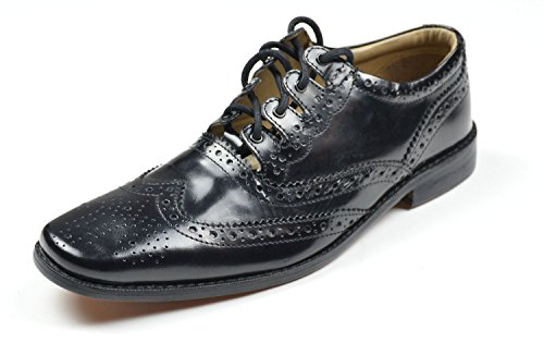 Mens Black Leather Contemporary Ghillie Kilt Brogues US (Leather Ghillie)