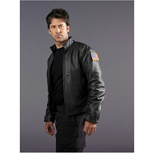 Joe Flanigan 8x10 Inch Photo Stargate Atlantis 6 Bullets The Other Sister Looking Hot in Black Leather Jacket Pose 1 kn
