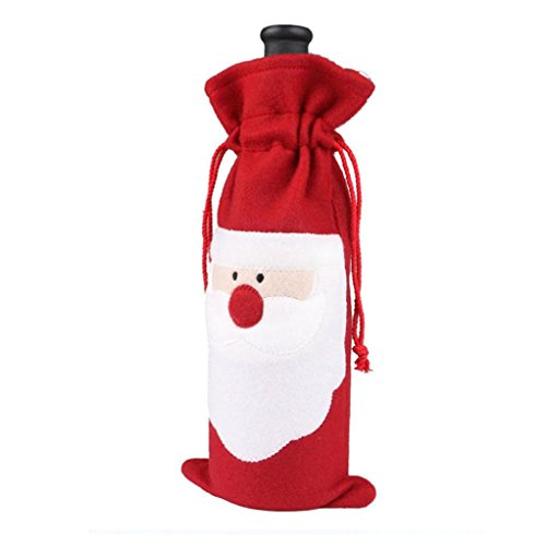 Wine Bottle And Glass Costume (AIMTOPPY 10PC set Wine Bottle Cover Bags Decoration Home Party Santa Claus Christmas)