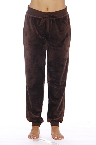 Just Love Velour Pajama Pants Joggers for Women 6317-Brown-XL