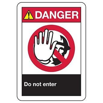 Amazon.com: Vinilo calcomanía ANSI peligro no entrar señal ...