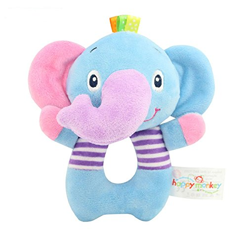 TOLOLO Baby's Wrist Rattle Learning Stuffed Cartoon Animal Hand Bell Plush Doll Toys for Newborn (Elephant)