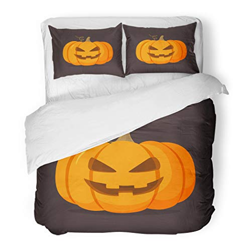 Emvency Bedding Duvet Cover Set King Size (1 Duvet Cover + 2 Pillowcase) Orange Ghost Halloween Pumpkin Happy Face On Dark Cartoon Yellow Autumn Hotel Quality Wrinkle and Stain Resistant