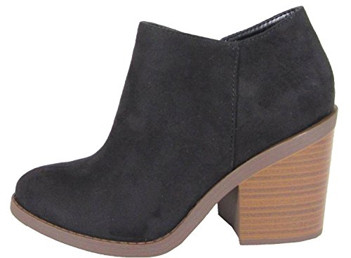Soda Women's Closed Toe Zipper Block Stacked Chunky Heel Ankle Bootie,Black,9 Womens Chunky Heel Booties