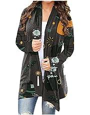 XOXSION Dames Halloween Cardigan, elegant sexy gebreid vest lichtgewicht pullover slim fit sweatshirt cardigan grappige schattige pompoen kat geest vleermuis skelet patroon jas (,)