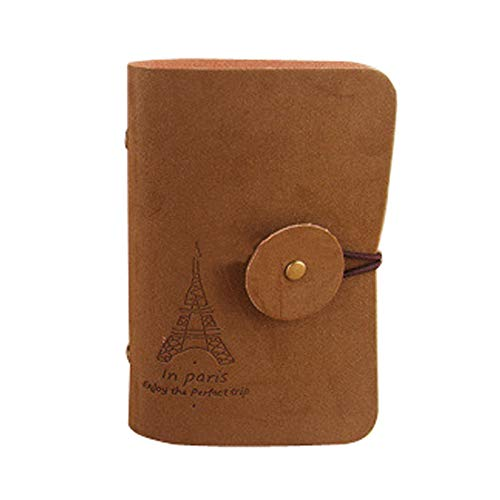 TIANRUN Fashion Retro Eiffel Tower Credit Business ID Card Holder Wallet Bag Case (Dark Brown)
