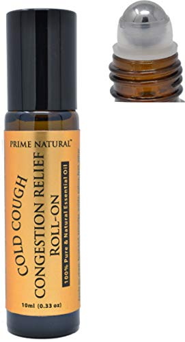 Prime Natural Cold Cough Congestion Relief Essential Oil Roll on (10 ml), Pre-Diluted Ready to Use for Sinus, Sore Muscle and Headache with Peppermint, Eucalyptus, Camphor, Wintergreen and Rosemary