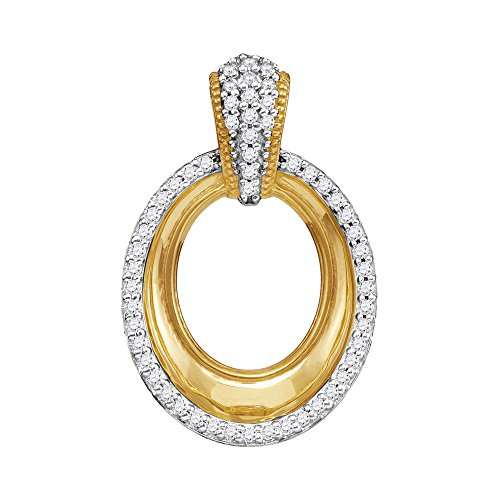 FB Jewels Solid 10kt Yellow Gold Womens Round Diamond Framed Outline Oval Pendant 1/6 Cttw - Framed Oval Pendant