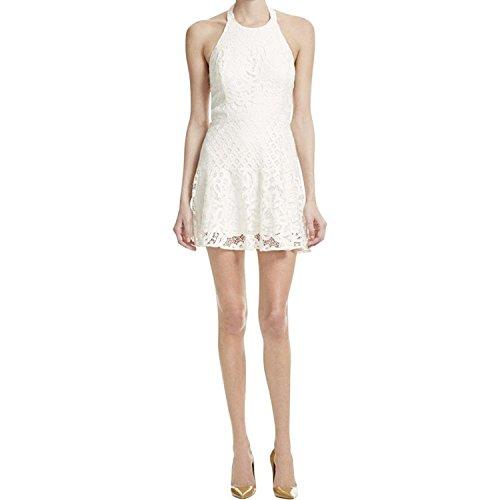 L White Large Party Out Halter Dress Leona Parker Womens Lace Cut EqU6vx