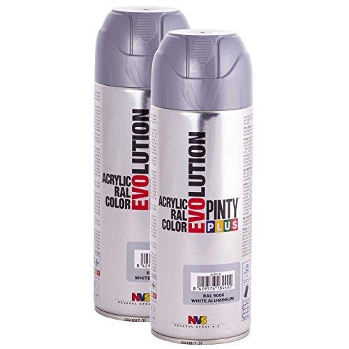 Fast Dry, Low Odor, Low VOC - Acrylic Spray Paint Pintyplus Evolution - Pack of 2 (White Aluminium)