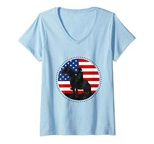 Womens Yankee Doodle Patriotic popular American Song July 4th horse V-Neck -