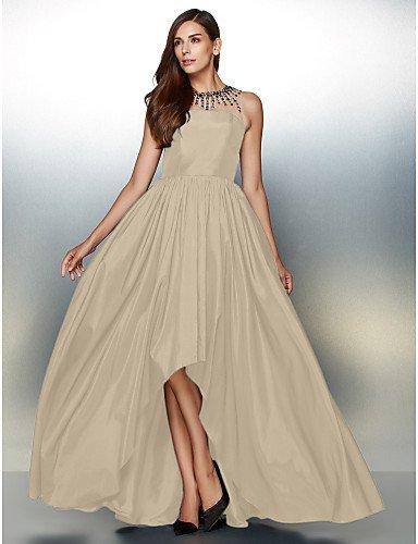 HY Crystal Tafetán Prom Detallando amp;OB Una Cuello Champagne Joya Asimétrica De Formal De Con Vestido Noche De Línea w4wZqB
