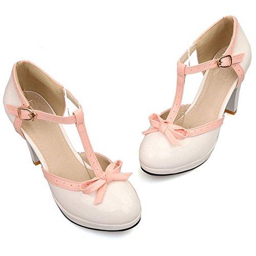 TAOFFEN Mujer Moda Tacon Embudo Alto Correa en T Sandalias Bombas Zapatos con Bowknot White
