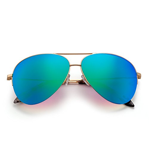 Aviador Espejo Gafas Sol Semi Rimless de Oversized Dorado Verde Mujer de Espejo Anteojos Retro Hombre rInIEq