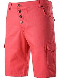 Cafuny Mens Outdoor Casual Summer Solid Color Cargo Shorts Beach Shorts