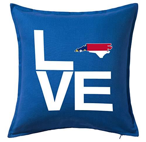 Tenacitee Love North Carolina Blue Throw Pillow Cover ()
