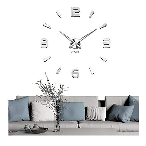 Vangold Decorative DIY Wall Clock, 2-Year Warranty Frameless Wall Clock with 3D Mirror Large Number for Living Room/Bedroom/Home Wall Decorations (Silver) by Vangold