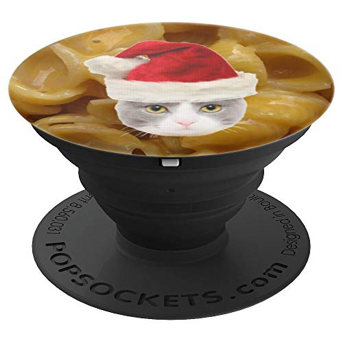 Mac And Cheese Baked Cheddar Macaroni Christmas Cat Santa - PopSockets Grip and Stand for Phones and Tablets