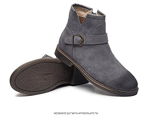 Aisun Side Toe Strap Womens Stylish Ankle Boots Buckle Comfy Gray Top High Flat Round Up Zip Booties fqFrwfC