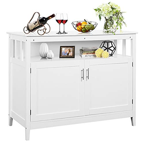 Costzon Kitchen Storage Sideboard Dining Buffet Server Cabinet Cupboard with Shelf White