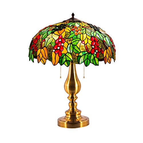 Bedside Light, Tiffany Style Table Lamp, Creative Grape Design Nightstand Desk Lamp with Stained Glass Shade for Bedroom, Living Room Decoration, E27-B-40CM