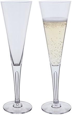 Set of 2 Dartington Crystal Sharon Celebration Flutes