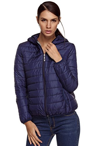 ELESOL Womens Lightweight Down Jacket Outwear Puffer Down Coats with Hood Navy Blue Medium