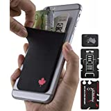"""""""Gecko - CANADA 150 – Oh Canada – Maple Leaf Love - Adhesive Phone Wallet - RFID Blocking Sleeve - Stick-On Stretchy Lycra Card holder - Universal fit to most Cell Phones & Cases"""" - CANADA FLAG"""