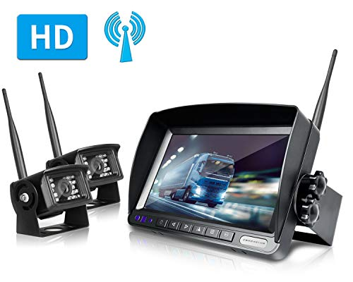 ZEROXCLUB Digital Wireless Backup Camera System Kit No Interference IP69 Waterproof Wireless Rear View Camera 7
