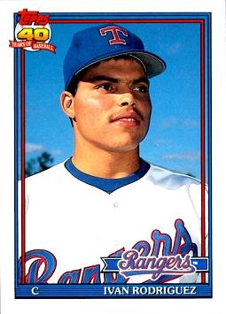 1991 Topps Traded Baseball #101T Ivan Rodriguez Rookie Card (Ivan Pudge Rodriguez)