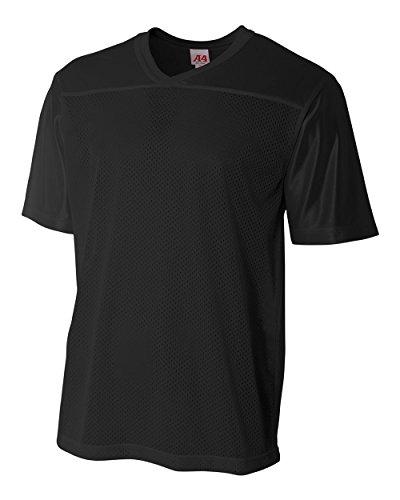 Adult Black XL (Blank Back) Moisture Wicking V-Neck Football Jersey by Football Fan Jersey Top