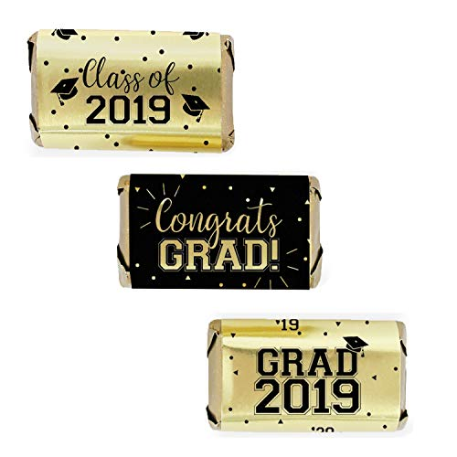 Graduation Candy Bar - Class of 2019 Graduation Mini Candy Bar Wrappers | 54 Stickers (Gold FOIL)