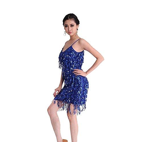 Pilot-trade Women's Latin Salsa Tango Ballroom Dance Dress Tassel Sequins Skirt Costume Navy - Pilot Prom